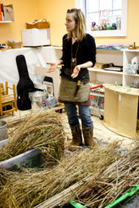 Sheena discussing the biology of plants used for basketry.